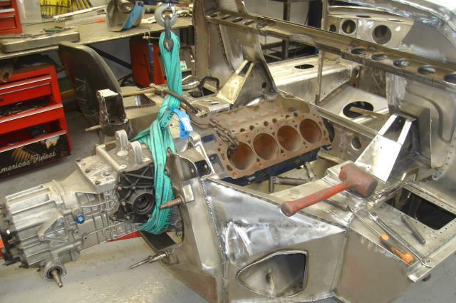 Dummy Engine And Gearbox Are Fitted To Check For Clearance Around The Oil Filter The Engine Mountings Are Handmade To Suit Each Car And Are Also Installed